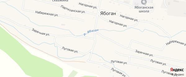 Заречная улица на карте села Ябогана Алтая с номерами домов