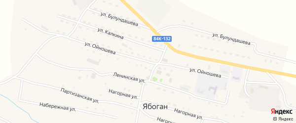 Улица Ойношева Ю.А. на карте села Ябогана Алтая с номерами домов