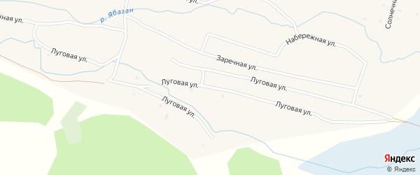 Луговая улица на карте села Ябогана Алтая с номерами домов