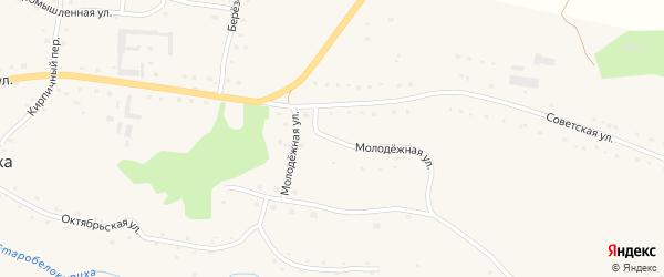 Молодежная улица на карте села Старобелокурихи Алтайского края с номерами домов
