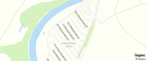 6-я Катунская улица на карте садового некоммерческого товарищества Катунские зори с номерами домов