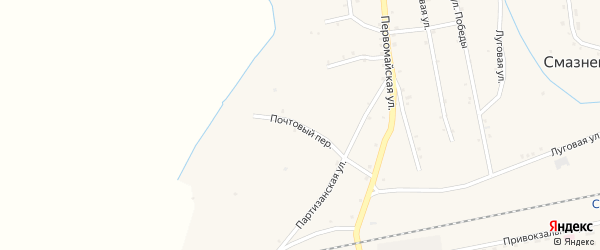 Почтовый переулок на карте станции Смазнево Алтайского края с номерами домов