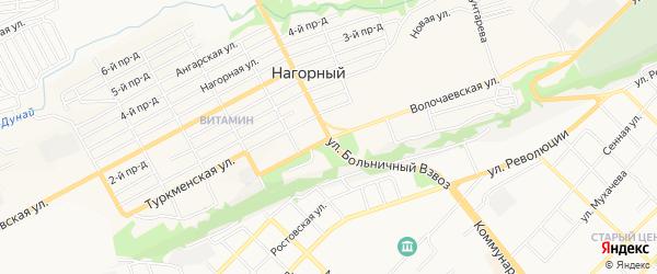 Карта Нагорного поселка города Бийска в Алтайском крае с улицами и номерами домов