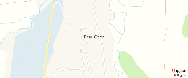 Подгорная улица на карте села Беш-Озек Алтая с номерами домов