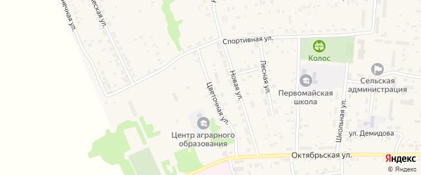 Цветочная улица на карте Первомайского села с номерами домов