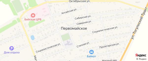 Короткая улица на карте Первомайского села Алтайского края с номерами домов