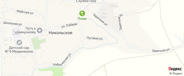 Луговая улица на карте Никольского села с номерами домов