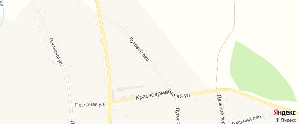 Луговой переулок на карте села Красного Яра Алтайского края с номерами домов