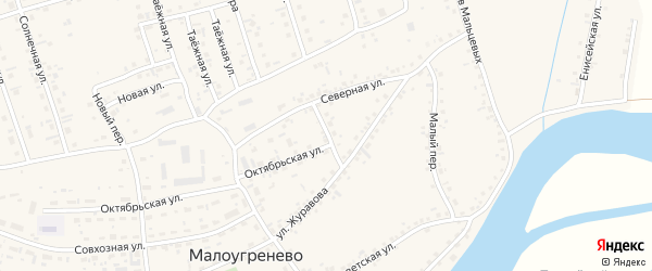 Северный переулок на карте села Малоугренево с номерами домов