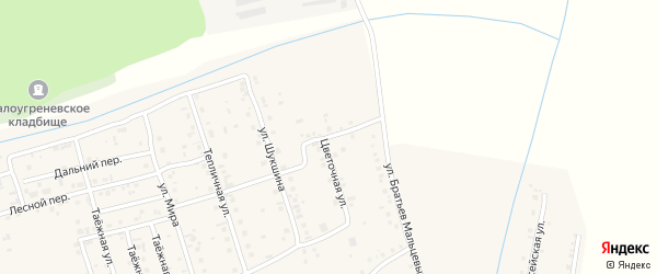Березовый переулок на карте села Малоугренево с номерами домов