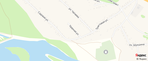 Ударная улица на карте Верха-Катунского села Алтайского края с номерами домов