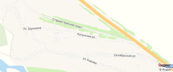 Катунская улица на карте Верха-Катунского села с номерами домов
