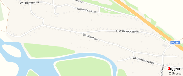 Улица Кирова на карте Верха-Катунского села с номерами домов