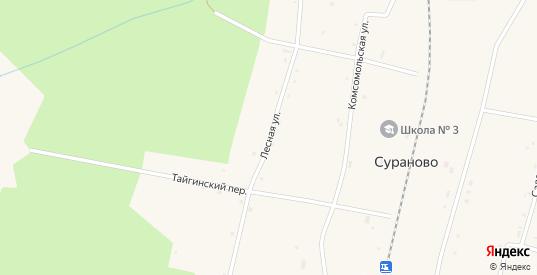 Лесная улица в разъезде Сураново в Тайге с номерами домов на карте. Спутник и схема онлайн