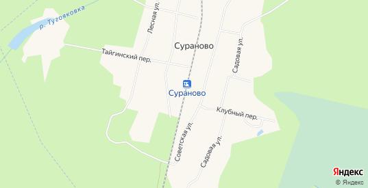 Карта разъезда Сураново в Тайге с улицами, домами и почтовыми отделениями со спутника онлайн