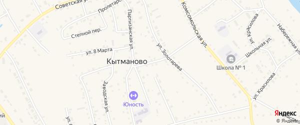 Мирный переулок на карте села Кытманово Алтайского края с номерами домов