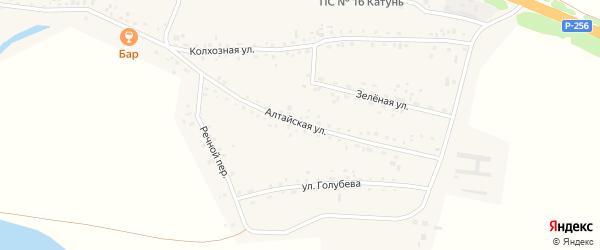 Алтайская улица на карте Верха-Катунского села Алтайского края с номерами домов