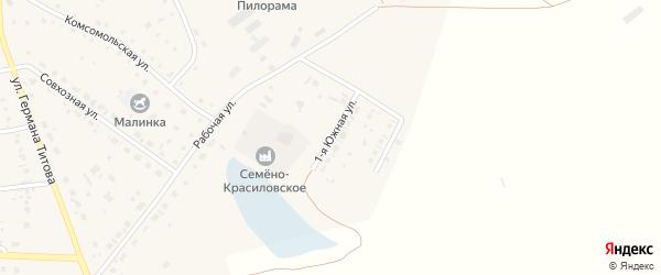 Южная 1-я улица на карте села Кытманово с номерами домов