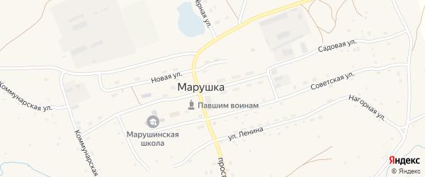 Улица 50 лет Октября на карте села Марушки с номерами домов