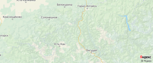 Карта Шебалинского района Республики Алтая с городами и населенными пунктами