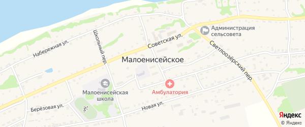 Переулок Кузьменых на карте Малоенисейского села с номерами домов