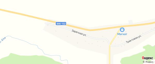 Заречная улица на карте села Ело Алтая с номерами домов