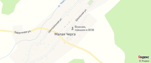 Учительская улица на карте села Малой Черги Алтая с номерами домов