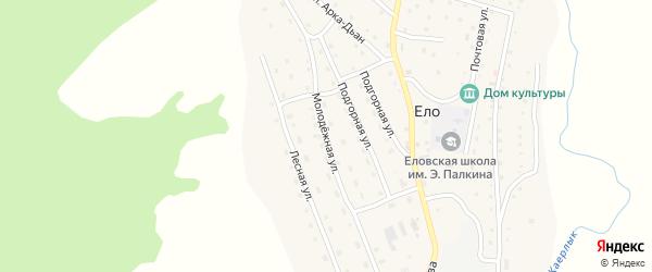 Молодежная улица на карте села Ело Алтая с номерами домов
