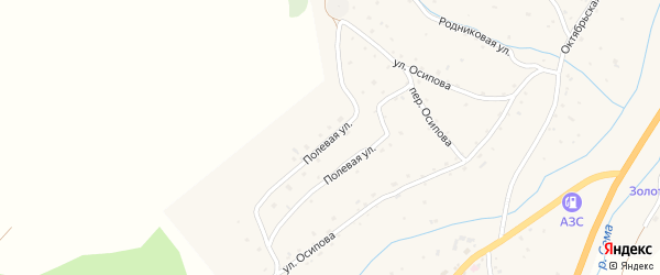 Полевая улица на карте села Черга Алтая с номерами домов