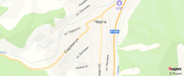 Карта села Черга в Алтае с улицами и номерами домов