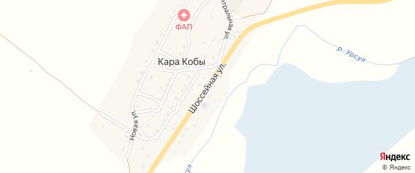 Шоссейная улица на карте села Кары Кобы Алтая с номерами домов