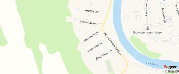 Заречная улица на карте села Усть-коксы Алтая с номерами домов