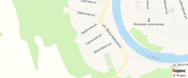 Пасечная улица на карте села Усть-коксы Алтая с номерами домов