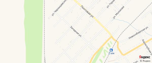Западная улица на карте Тайги с номерами домов