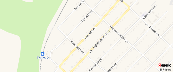 Томская улица на карте Тайги с номерами домов