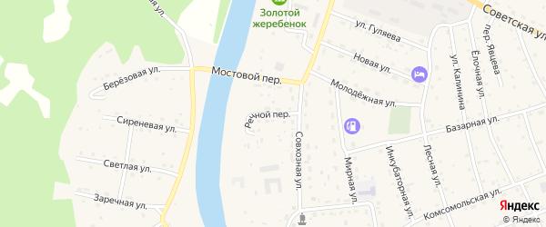Речной переулок на карте села Усть-коксы Алтая с номерами домов