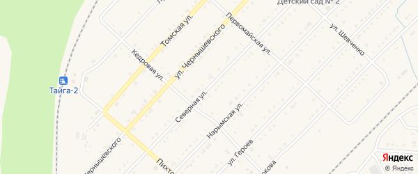 Северная улица на карте Тайги с номерами домов