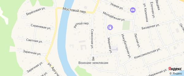 Совхозная улица на карте села Усть-коксы Алтая с номерами домов