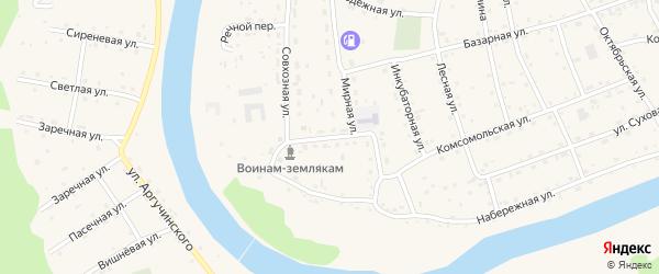 Западная улица на карте села Усть-коксы Алтая с номерами домов