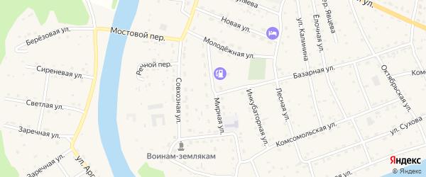 Мирная улица на карте села Усть-коксы Алтая с номерами домов