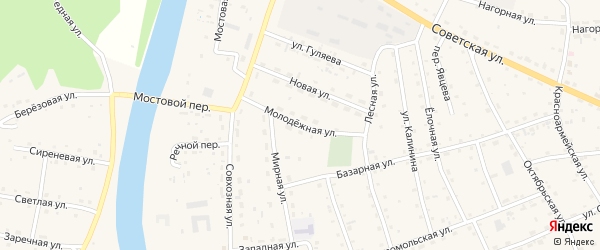 Молодежная улица на карте села Усть-коксы Алтая с номерами домов