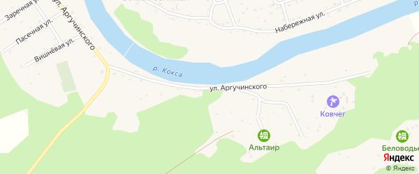 Улица Аргучинского на карте села Усть-коксы Алтая с номерами домов