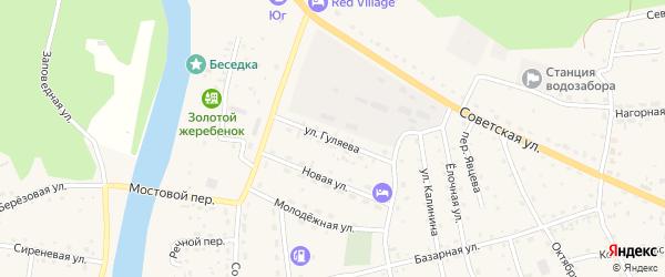 Улица Гуляева на карте села Усть-коксы Алтая с номерами домов
