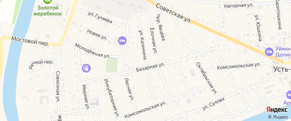 Улица Калинина на карте села Усть-коксы с номерами домов