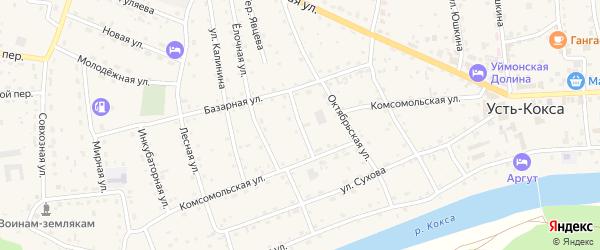 Пекарский переулок на карте села Усть-коксы Алтая с номерами домов