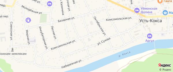 Комсомольская улица на карте села Усть-коксы Алтая с номерами домов