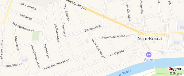 Октябрьская улица на карте села Усть-коксы Алтая с номерами домов
