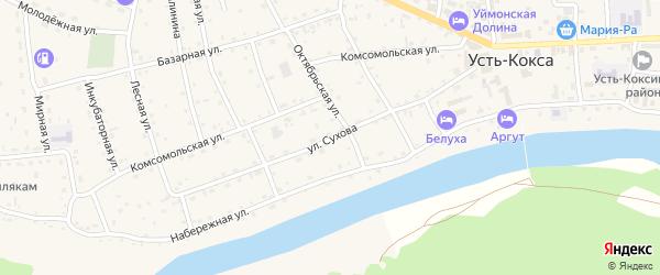 Улица Сухова на карте села Усть-коксы Алтая с номерами домов