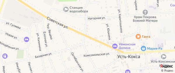 Советская улица на карте села Усть-коксы Алтая с номерами домов