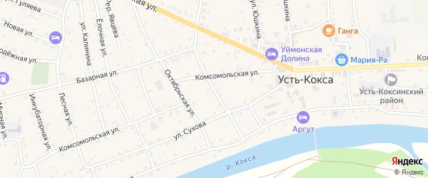 Красноармейская улица на карте села Усть-коксы Алтая с номерами домов